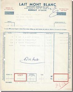 Facture - compagnie generale du lait mont blanc à Rumilly 1958