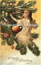Christmas Fabric Block Vintage Victorian Angel Decorating Christmas Tree