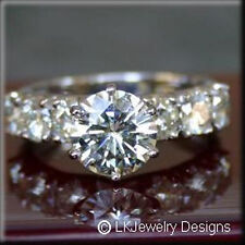 3.40 CT FOREVER BRILLIANT MOISSANITE SOLITAIRE & SEMI ETERNITY ENGAGEMENT RING