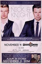 """NICK CARTER / JORDAN KNIGHT """"NICK & KNIGHT TOUR"""" 2014 SAN DIEGO CONCERT POSTER"""