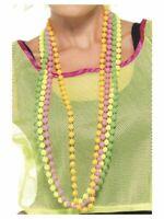 Women's 1980's 90's Fluorescent Neon Fancy Dress Beads Pride Hen Party Theme Fun