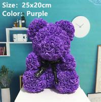25cm Purple Rose Teddy Bear Flower Gift Girlfriend Birthday Wedding Valentine