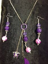 Vintage retro Tibet silver purple /pink Beads ,Butterfly Charm +chain & earrings