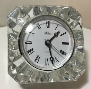 Clear Diamond Cut Crystal Shelf Quartz Clock by Milkasa From Germany
