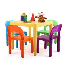 Rainbow Plastic Kids Table & 4 Chairs Play Set Toddler Child Babe Bairn Toy Gift
