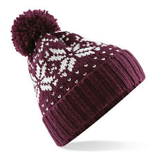 Demina Beechfield b456 Fair Isle Knit Bobble Beanie Hat - 4 Colours  - One Size