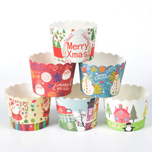 50Pcs Christmas Paper Cupcake Holders Muffin Cake Cups Wedding Party Baking Tool