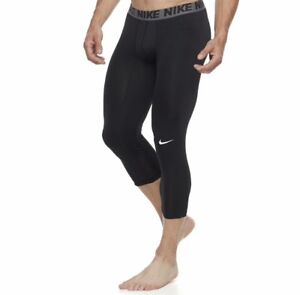 NWT Men's Nike ¾ Black Base Layer Tights (Size S-XXL) MSRP $32