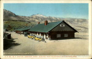 North Pacific Railway Station at Gardiner,Electric Peak in Distance,Yellowstone