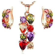 Rose Gold Plated Multi-Coloured Cubic Zirconia Necklace And Earrings Set