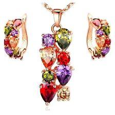 rosa placcato oro multicolore zircone cubico Collana e orecchini set