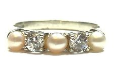 Beautiful Ladies Sterling Silver CZ & Pearl Ring - AVON - Size 6