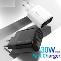 USB Phone Charger 30W 18W 3.0 LED EU Wall Adapter For iPhone Samsung Xiaomi