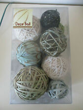 DECO BALL GREEN/BLUE & CREAM SHADES WOOD/STRING/NATURAL BALLS DECORATION SET