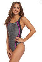 Speedo Heather Quantum Splice One Piece Swimsuit NWT Sz 12