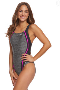 Speedo Heather Quantum Splice One Piece Swimsuit NWT Sz 12