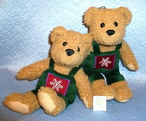 2 KISSING 11 INCH BOY BEARS in GREEN COVERALLS small furry stuffed plush