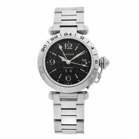 Cartier Pasha GMT Stainless Steel Black Dial Automatic Mens Watch W31049M7
