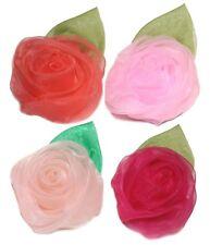 Mesh Rose Hair Pins - 4 pcs Set Soft Sheer Flower Petal Hairpins & Hair Clips