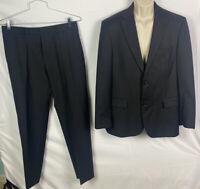 Mens HUGO BOSS Suit Wool Pin Stripe Size 40R Black/Gray Pants 34/30