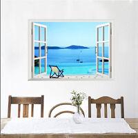 3d Wandaufkleber Fenster Palmen Strand Sonne Wand Dekor Aufkleber-Wandtattoo NEW