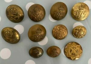 11x British Military Tunic Buttons Including Rough Riders County of London Yeo