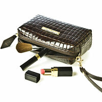 Small  Crocodile Skin Clutch Bag Designer Leather Makeup Purse Ladies Vintage