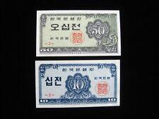Korea South 10 Jeon Bk {2} 50 Jeon Bk {2} 1962 Pair 68# Bank Money Banknote