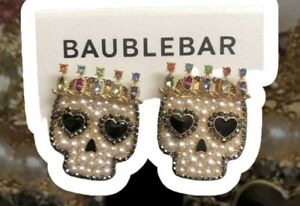 New BAUBLEBAR Vertex Skull Faux Pearl & Glass Bead Gold tone Stud Earrings
