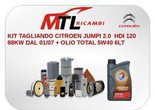KIT TAGLIANDO CITROEN JUMPI 2.0  HDI 120 88KW DAL 01/07 + OLIO TOTAL 5W40 6LT+