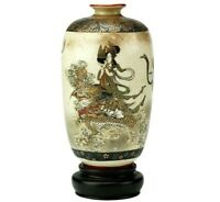 Satsuma Porcelain Ware Vase Dragon Maiden Motif Meiji Old Japanese Antique Japan