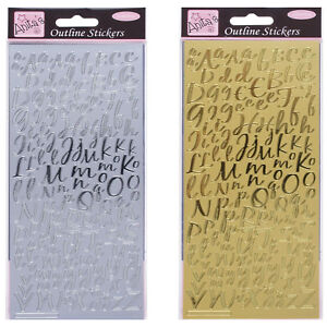 Anitas Outline Stickers Peel offs  Card Crafts  Gold Silver Letters Numbers