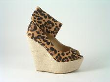 Señoras para mujer Leopardo Alto Sandalia De Cuña Tallas Moda Baile de graduación fiesta