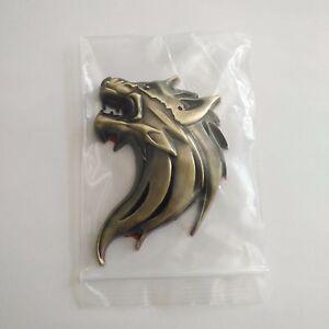 3D WOLF HEAD LOGO Car Auto Badge Emblem Sticker Motor 3D Metal Brass New