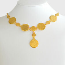 Arabic Coin Necklace Pendant 24k Gold Plated Middle East Coin Jewelry 21.5 inch