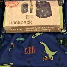 Wonder Nation Backpack 5 Piece Skater ID Key Chain Blue Dinosaur Skater 21SC014