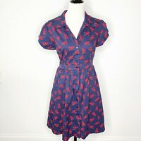 Modcloth Size L Summer School Cool Shirt Dress Lobster Print Navy Red Cotton