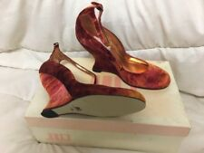 JLO J LO by Jennifer Lopez shoes heels red velvet wedge US 6 new in box 👠 👠👠