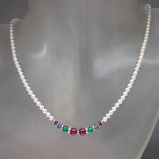 Perlenkette mit Rubin, Smaragd, Saphir und Gold-Kugeln an 585/14K Gold-Verschluß