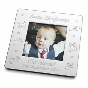 Engraved Small Magnetic Photo Frame Baby Christening Baptism Naming Day Gift