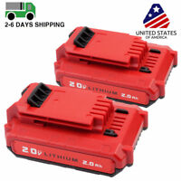 2 Pack 20V MAX 2.0AH Li-Ion Battery For Porter Cable PCC685L PCC680L Power Tools