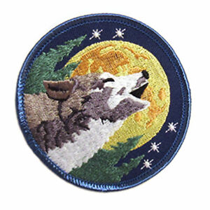 """Howling Wolf and Moon Embroidered Patch 3"""" Sew-On Fabric NEW"""