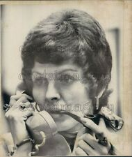 1975 1970s Woman Smoking Pipe Talking on Phone Press Photo