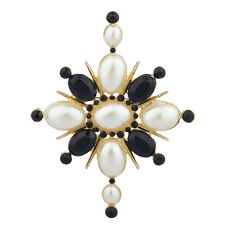 Lux Accessories Faux Pearl Black Stone Sun Floral Flower Statement Brooch Pin