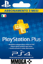 PLAYSTATION PLUS Abbonamento 3 Mesi - 90 GIORNI Sony PSN PS4 PS3 PS Vita - IT