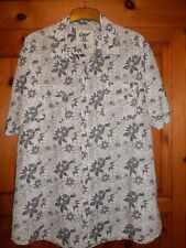 Easy by Matalan Blue Flowery Linen/Cotton Blend Short Sleeved Shirt - XL