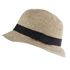 Lux Accessories Tan and Black Canvas Straw Fedora Hat