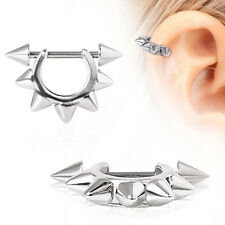 SPIKES Rimmed Cartilage Cuff Helix Stainless EAR Ring Barbells PIERCING JEWELRY