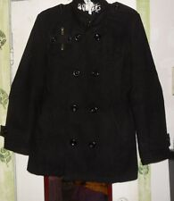 """thelees unisex black wool blend  dlb breasted pea coat sz XL 44""""Chest"""