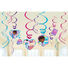 Disney DOC MCSTUFFINS Party Supplies SWIRL HANGING DECORATIONS Pack Of 12